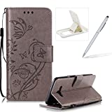Strap Case for Samsung Galaxy J710 2016,Wallet Leather Cover for Samsung Galaxy J710 2016,Herzzer Classic Elegant [Gray Butterfly Pattern] PU Leather Fold Stand Card Holders Smart Phone Case for Samsung Galaxy J710 2016 + 1 x Free White Cellphone Kickstand + 1 x Free White Stylus Pen