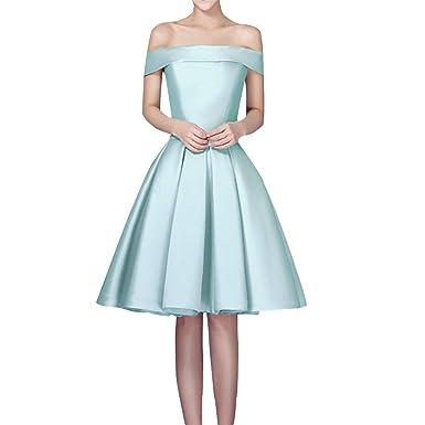 Shiningdress Womens Elegant Boat Neck Satin Mini Party Prom Gown Size 2 Blue