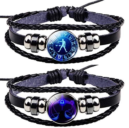 Newless 2 Pcs Constellation Leather Bracelet Retro Zodiac Astrology Braided Bracelet (Libra) ()