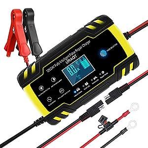 URAQT Cargador de Baterias de Coches, 8A 12V/24V Mantenimiento Automático e Inteligente con Múltiples Protecciones, LCD y Botón de la Pantalla Táctil ...