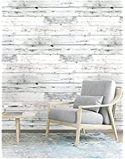 """Wood Contact Paper Self-Adhesive Peel and Stick Wood Wallpaper Grey and White Distressed Wood Plank Removable Wallpaper Waterproof PVC Removable Home Decorative 17.3""""x 118"""""""