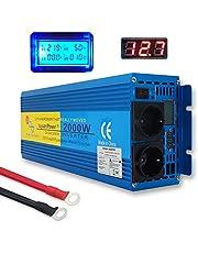 Yinleader Inversor De Corriente Onda Sinusoidal Pura 2000w Transformador De 12v A 230v convertidor LED LCD Enchufe para Coche Caravana cámping de Viaje