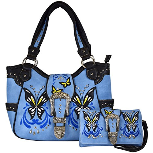 (Western Buckle Butterfly Rhinestone Shoulder Bag Women Top Handle Totes Handbags Wallet Set (Mauve))