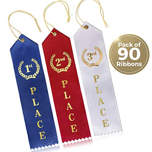 Award Gold Ribbon - Award Ribbons (90 Count) - 1st, 2nd & 3rd Place Recognition Awards Ribbon 30 Each - Blue, Red & White Colors Featuring Gold Prints - Event Card - Ideal for Competitions, Events & Sports