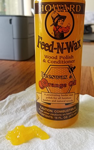Howard Products FW0016 Feed-N-Wax Wood Polish and Conditioner, Beeswax & 16 oz orange 16 Fl Oz