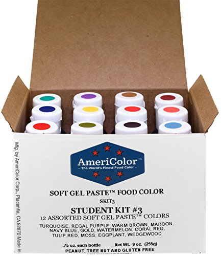 AmeriColor Student Kit 3 Soft Gel Paste Food Color, 0.75 Ounce, 12 Pack Kit