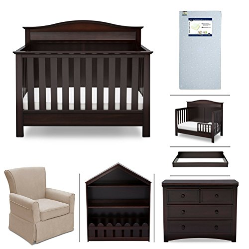 Serta Barrett 7-Piece Nursery Furniture Set - Convertible Crib, Toddler Rail, Dresser, Changing Top, Bookcase, Crib Mattress, Glider - Dark Chocolate
