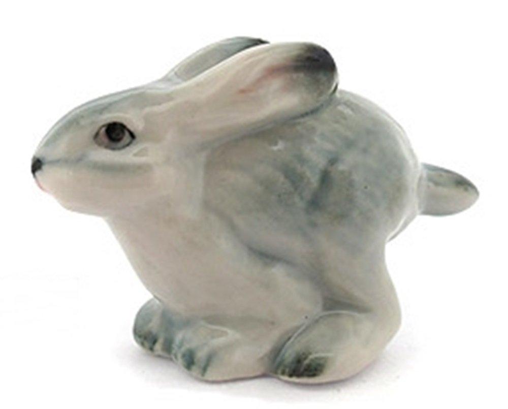 Dollhouse Miniatures Ceramic Grey Rabbit FIGURINE Animals Decor