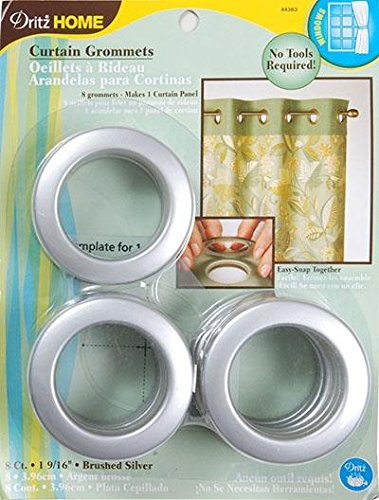 Dritz 1-9/16-Inch Inner Diameter Curtain Grommets, 8-Pack, Brushed Silver (Silver Grommets)