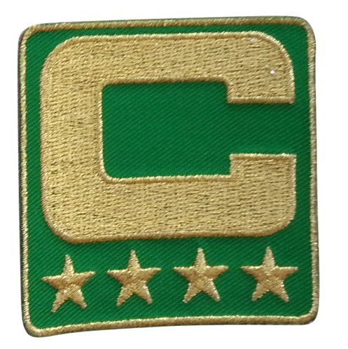 Green Captain C Patch (All Gold) Iron On for Jersey Football, Baseball. Soccer, Hockey, Lacrosse, (Broncos Ncaa Applique)