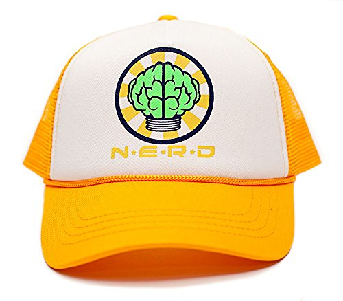 NERD Unisex-Adult One-size Flat Bill Trucker Hat Multi (White/Yellow)
