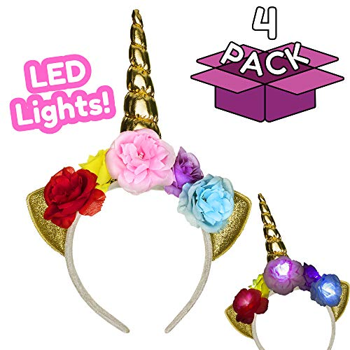 (4 PACK) Unicorn Light-up Floral Headband with 3 Flashing Modes for Girls Birthday Party Favors Unicorn Party Supplies -