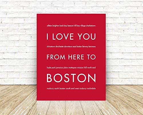HopSkipJumpPaper Boston Massachusetts Unframed Giclée Premium Fine Art Print, Handmade Artisian Home Decor