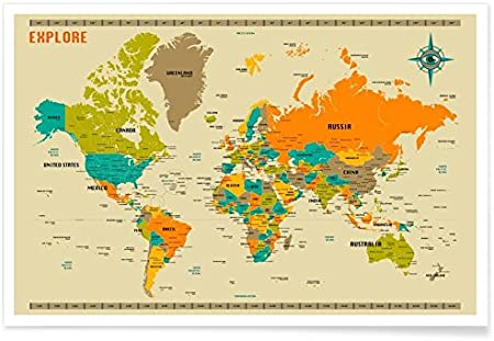 Grand Monde Carte Affiche Tableau Mural avec Pays Flags Neuf Up à Date Version
