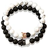 Essential Oil Aromatherapy Authentic Black Lava Rock and White Howlite Elastic Bracelet (pack of 2) Yin and Yang Gold and Black Crown