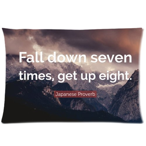 Motto Of Life Dream Success Quote Words Fall down seven times get up eight Decorative Pillow Cover Pillow Case 20
