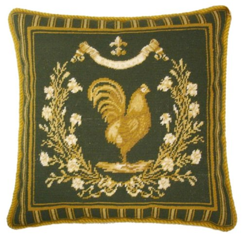 - Deluxe Pillows Framed Yellow Rooster - 19 x 19 in. needlepoint pillow