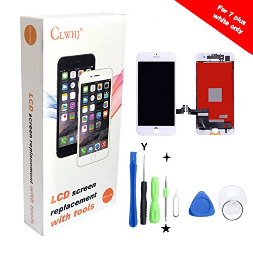 7 Plus Screen Replacement,Compatible 7 Plus 5.5 inch LCD Replacement Screen with 3D Touch Screen Digitizer Fram Assembly Full Set + Free Tools (White)