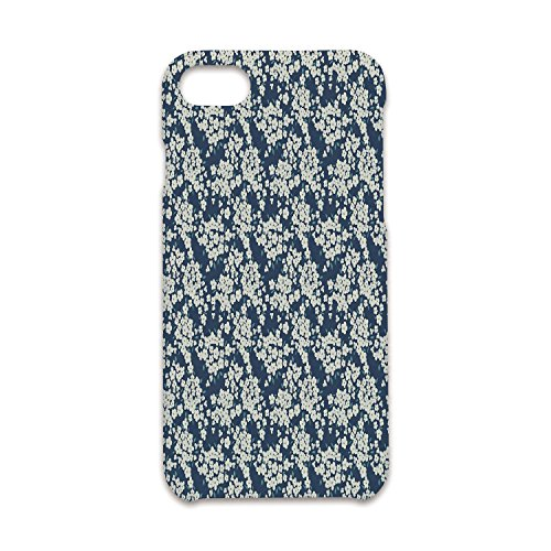 Flourishing Blossoms - Case Compatible iPhone 8/7 Durable Hard Case Cover,Floral,Vibrant Little Blossoms Flourishing Garden Feminine Lovely Flora Graphic Art Decorative,Night Blue Ivory,Antiskid Proof Shell