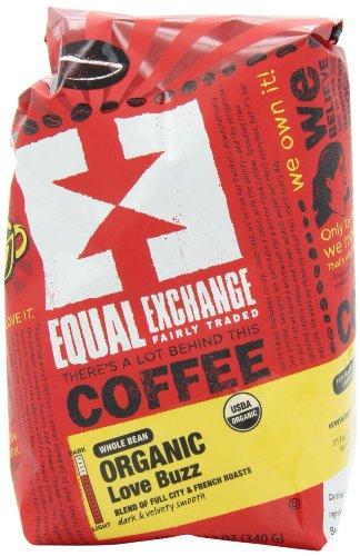Equal Exchange Organic, Coffee, Love Buzz, Whole Bean, 12 oz (340 g) 1 Single Bag