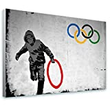 Alonline Art - Olympic Rings London Banksy FRAMED STRETCHED CANVAS (100% Cotton) Gallery Wrapped - READY TO HANG | 24''x16'' - 61x41cm | For Bedroom Frame Framed Wall Decor Framed Decor Framed Art