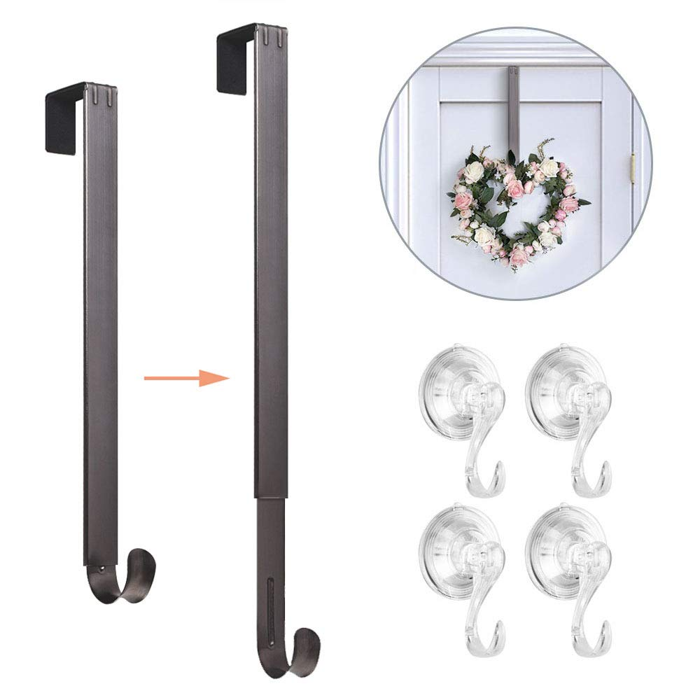 VIS'V Wreath Hanger, 15-24 Inch Adjustable Metal Wreath Hanger with 4 Suction Cup Hooks for Front Door 20 LB Heavy Duty Wreath Holder for Christmas Decorations - Nickle by VIS'V