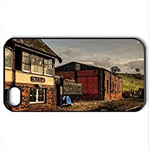 Train Station - Case Cover for iPhone 4 and 4s (Houses Series, Watercolor style, Black)