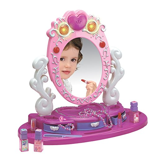 Dresser Vanity Beauty Set | Pink Princess Pretend Play Dressing Table Top Set with Makeup Mirror, Jewelry and Accessories | Music and Lights for Little Girls