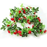 HEJIAYI 96 Inch Rose Vine Silk Flower Garland Artificial Flowers Plants Leaf Vine For Home Wedding Decoration Pack Of 3(Red)