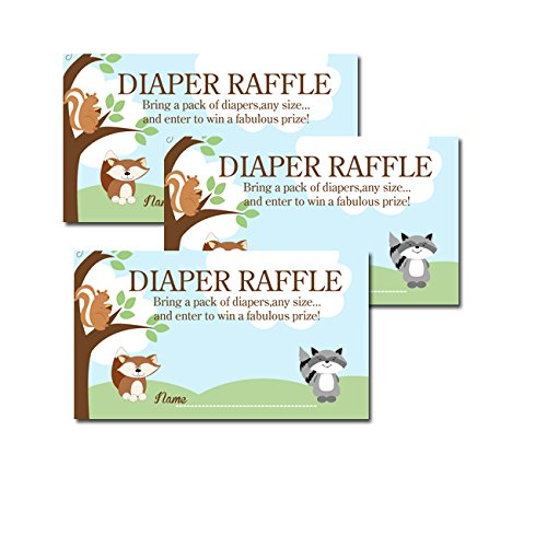 Enchanted Forest Baby Shower - Enchanted Forest Woodland Red Fox, Raccoon, Squirrel Baby Shower Diaper Raffle Tickets 20-pack