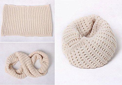 Hiver chaud tricot écharpe tricotée Echarpes Boucle écharpes Neck Wrap,Beige