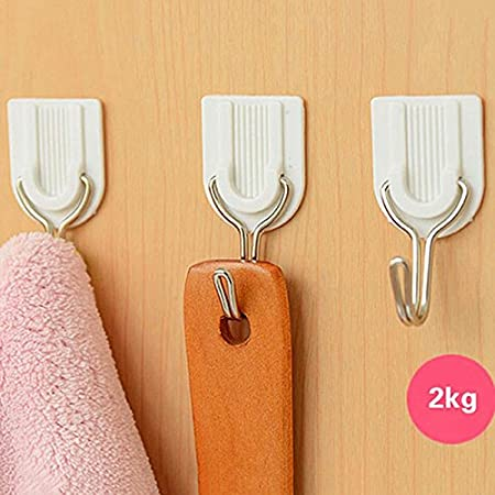 6pcs Wall Door House Home Plastic Small Self Adhensive Sticky Hooks Holder