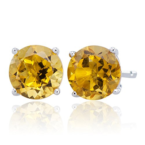 Elegant Natural Citrine Gemstone 925 Sterling Silver 925 Round Stud Jewelry Earrings