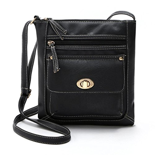 Price comparison product image GBSELL Womens Lady Leather Satchel Cross Body Shoulder Messenger Bag (Black)