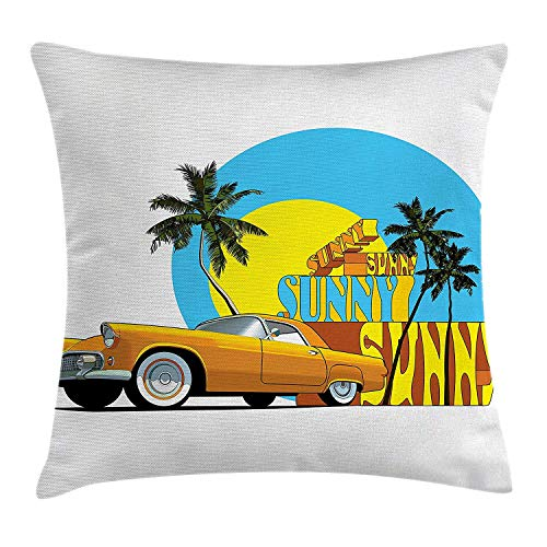 Retro Throw Pillow Cushion Cover, Vintage Car in Magic City Miami with Exotic Coconut Trees Sunny Day Beach, Decorative Square Accent Pillow Case, 18 X 18 inches, Yellow Blue -