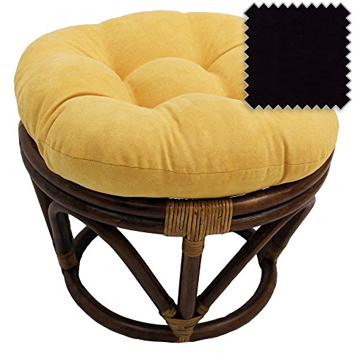 18-Inch Bali Rattan Papasan Footstool with Cushion - Solid Microsuede Fabric, Black - DCG Stores Exclusive