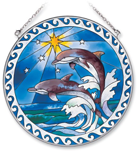 (Amia Handpainted Glass Leaping Dolphins Suncatcher, 6-1/2-Inch)