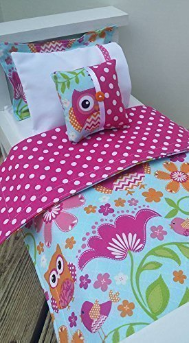 18 Doll Bedding, Owl Doll Bedding With Polka Dots Made to Fit American Girl Dolls 18 Doll Bedding