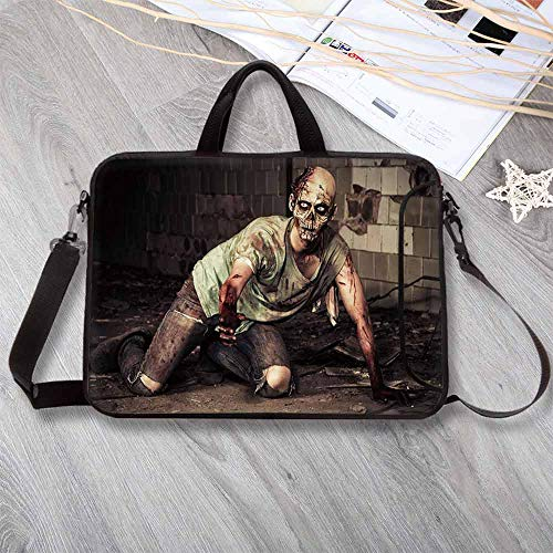 Zombie Decor Neoprene Laptop Bag,Halloween Scary Dead Man in Old Building with Bloody Head Nightmare Theme Laptop Bag for Office Worker Students,12.6
