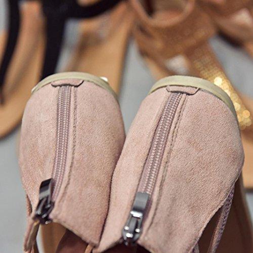 Filles Diamant Janly Femmes D't Plage Gladiateur Sandales Pour Bohme Zipper De Chaussures Dames Tongs Rose UqzqPB