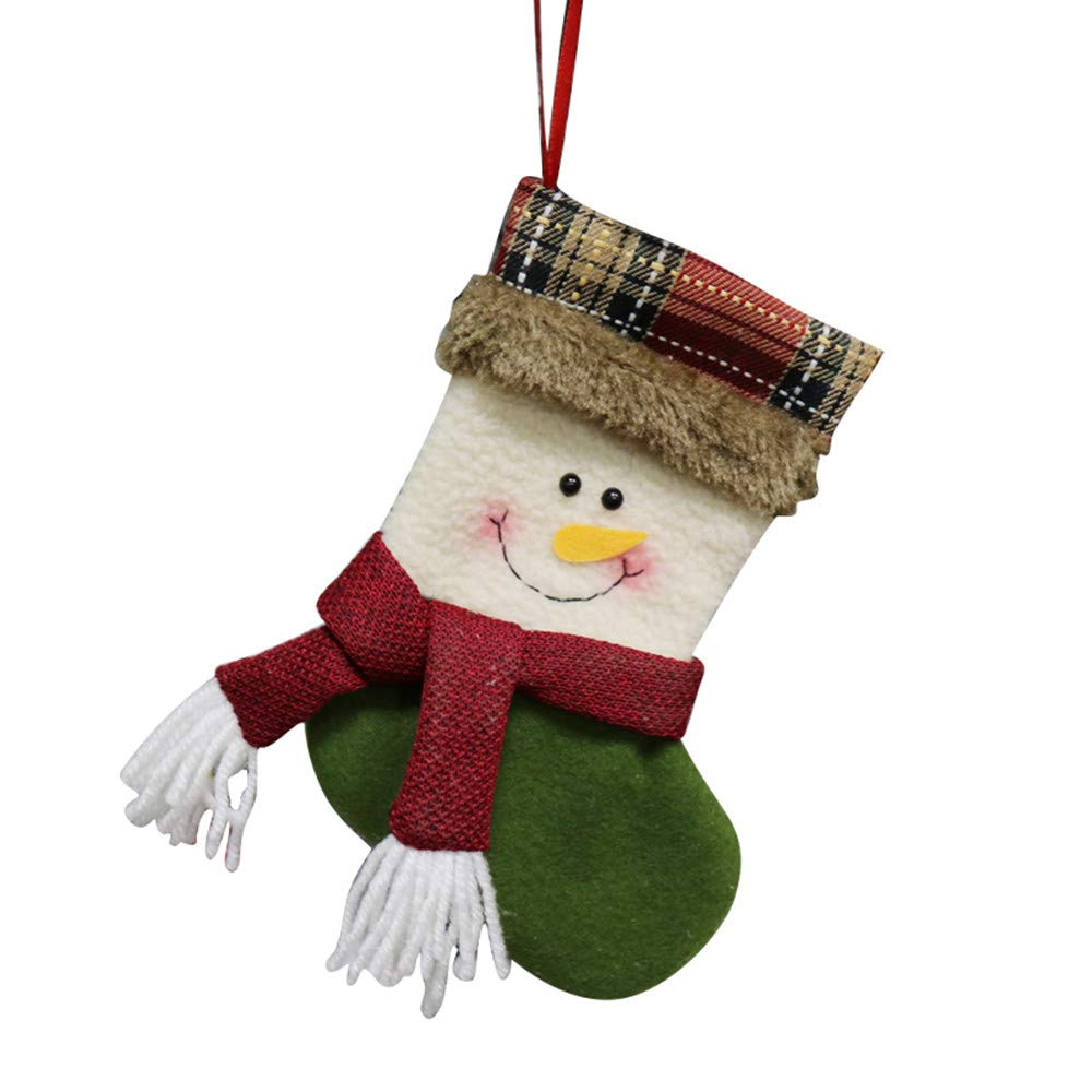 Christmas Stocking, Snowman, Reindeer, Xmas Character Plush Plaid Cuff Christmas Decorations and Party Decor Accessory (Multicolor B, One Size)