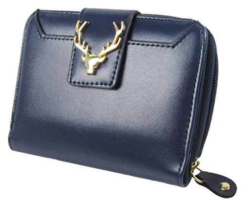 Kukubird Frente Alces Metal Head Logo Detalle Medio Damas Monedero Cartera De Embrague Dark Blue