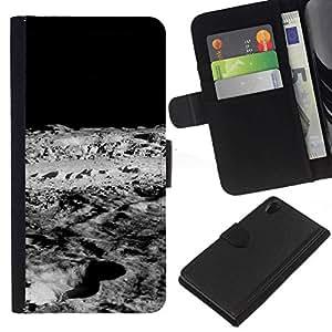 // PHONE CASE GIFT // Moda Estuche Funda de Cuero Billetera Tarjeta de crédito dinero bolsa Cubierta de proteccion Caso Sony Xperia Z2 D6502 / Moon Lunar Surface /