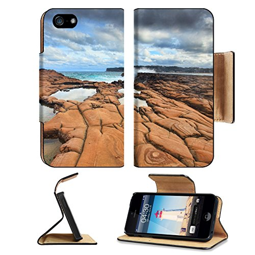 MSD Premium Apple iPhone 5 iphone 5S Flip Pu Leather Wallet Case Ocean waves splash against spectacularrock formations at North Avoca NSW Australia iPhone5 IMAGE - Glass Headlands