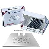Medium duty carpet cutting utility blades x 100 made in Sheffield England by Jewel