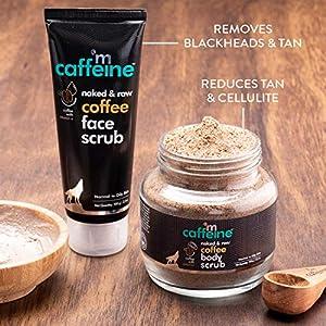 mCaffeine Coffee Exfoliation & Tan Removal Combo | Body Scrub 100gm, Face Scrub 100gm| Oily/Normal Skin | Paraben & SLS…