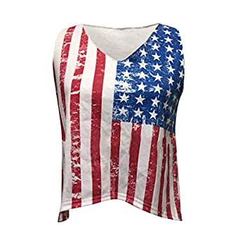 Hatoys Women's Summer American Flag Print Vest Top Blouse at Amazon Women's Clothing store: