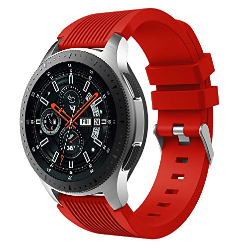 GOSETH Compatible with Samsung Galaxy (46mm),Watch Bands, 22mm Straight Stripe Silicone Wrist Strap Replacement Buckle Band for Samsung Galaxy SM-800/SM-805 SmartWatch (Red)