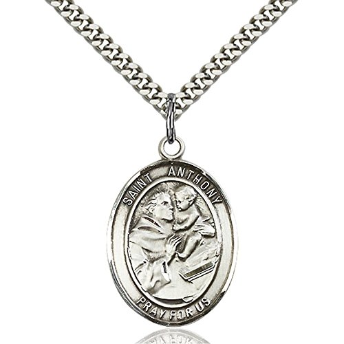 (Sterling Silver Men's Patron Saint Medal of ST. ANTHONY of PADUA - Includes 24 Inch Heavy Curb Chain - Deluxe Gift Box Included)