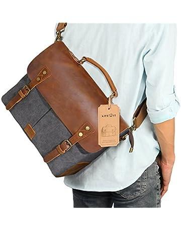 e7494460f2 Lifewit 14 Inch Leather Satchel Messenger Laptop Shoulder Bag Canvas  Briefcase